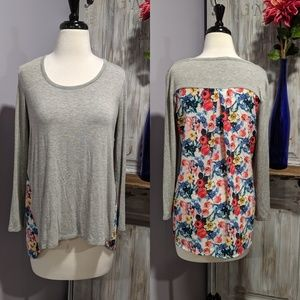 Market & Spruce gray and floral blouse